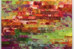 Autumn by Elena Stokes - Stitched textile collage, cottons, machine quilted, gallery wrapped on stretchers - 24 x 24 inches