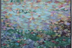 Nymphaea by Elena Stokes - Cottons, machine pieced, hand quilted - 49.5 x 66.5 inches