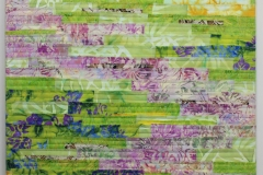 Spring by Elena Stokes - Stitched textile collage, cottons, machine quilted, gallery wrapped on stretchers - 24 x 24 inches