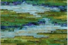Tranquil Marsh - Wild Iris by Elena Stokes - Stitched textile collage, cottons, machine quilted - 78 x 32 inches