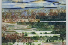 Winter by Elena Stokes - Stitched textile collage, cottons, machine quilted, gallery wrapped on stretchers, 24 x 24 inches
