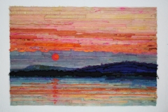 Horizon XII by Elena Stokes - Stitched textile collage, reclaimed sari silks, machine quilted - 43 x 63 inches