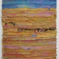 Fields of Gold by Elena Stokes - Stitched textile collage, reclaimed sari silks, machine quilted - 30 x 15 inches