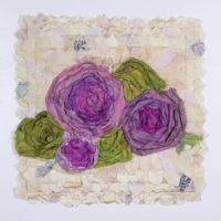 Fleurs by Elena Stokes - Stitched textile collage, reclaimed sari silks, machine quilted - 9.5 inches sq. on 12 x 12 inch panel board