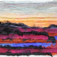 Horizon I by Elena Stokes - Stitched textile collage, reclaimed sari silks, machine quilted - 9 x 13 inches - private collection