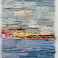 Horizon II by Elena Stokes - Stitched textile collage, reclaimed sari silks, machine quilted - 8 x 6 inches - private collection