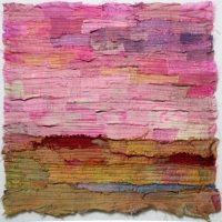 Horizon III by Elena Stokes - Stitched textile collage, reclaimed sari silks, machine quilted - 12 x 12 inches - private collection