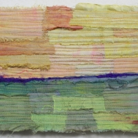 Horizon IV by Elena Stokes - Stitched textile collage, reclaimed sari silks, machine quilted - 6 x 8 inches