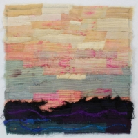 Horizon IX by Elena Stokes - Stitched textile collage, reclaimed sari silks, machine quilted - 12 x 12 inches