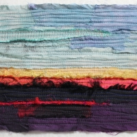 Horizon V by Elena Stokes - Stitched textile collage, reclaimed sari silks, machine quilted - 6 x 8 inches