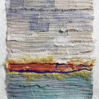 Horizon VI by Elena Stokes - Stitched textile collage, reclaimed sari silks, machine quilted - 8 x 6 inches