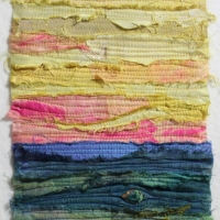 Horizon VII by Elena Stokes - Stitched textile collage, reclaimed sari silks, machine quilted - 8 x 6 inches