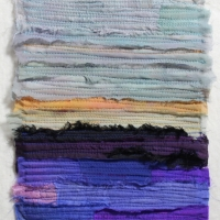 Horizon VIII by Elena Stokes - Stitched textile collage, reclaimed sari silks, machine quilted - 8 x 6 inches