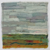 Horizon X by Elena Stokes - Stitched textile collage, reclaimed sari silks, machine quilted - 12 x 12 inches