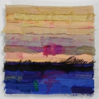 Horizon XIV by Elena Stokes - Stitched textile collage, reclaimed sari silks, machine quilted - 12 x 12 inches
