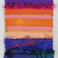 Horizon XVIII by Elena Stokes - Stitched textile collage, reclaimed sari silks, machine quilted - 8 x 6 inches
