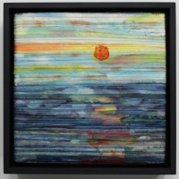 Morning by Elena Stokes - Stitched textile collage, salvaged French silks, machine quilted, 9 x 9 x 3 inches boxed - private collection