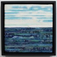 Noon by Elena Stokes - Stitched textile collage, salvaged French silks, machine quilted, 9 x 9 x 3 inches boxed - private collection