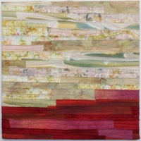 Taking the Leap by Elena Stokes - Stitched textile collage, cotton, machine quilted - 18 x 18 inch gallery wrapped on stretchers