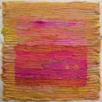 Tequila Sunrise by Elena Stokes - Stitched textile collage, reclaimed sari silks, machine quilted - 12 x 12 inches - private collection