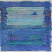 Blue Lagoon by Elena Stokes - Stitched textile collage, reclaimed sari silks, machine quilted - 12 x 12 inches - private collection