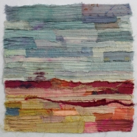 Horizon XIII by Elena Stokes - Stitched textile collage, reclaimed sari silks, machine quilted - 12 x 12 inches