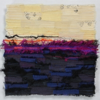Horizon XIX by Elena Stokes - Stitched textile collage, reclaimed sari silks, machine quilted - 12 x 12 inches