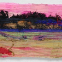 Horizon XV by Elena Stokes - Stitched textile collage, reclaimed sari silks, machine quilted - 6 x 8 inches