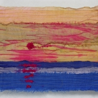 Horizon XVI by Elena Stokes - Stitched textile collage, reclaimed sari silks, machine quilted - 6 x 8 inches