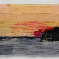 Horizon XVII by Elena Stokes - Stitched textile collage, reclaimed sari silks, machine quilted - 6 x 8 inches