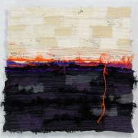 Horizon XX by Elena Stokes - Stitched textile collage, reclaimed sari silks, machine quilted - 12 x 12 inches
